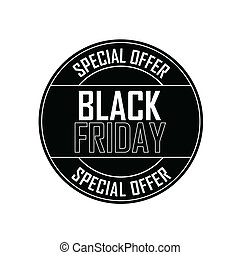 Black Friday special offer label on white background