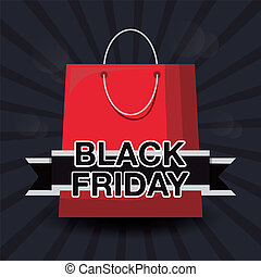 black friday label with bag shopping