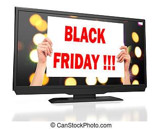 Black Friday! LED tv on white background. 3D rendering