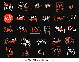 Black Friday lettering typographic emblems set.