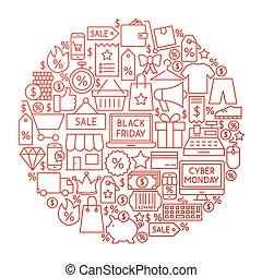 Black Friday Line Circle Design