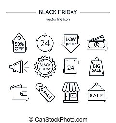 Black friday. Line icons set.