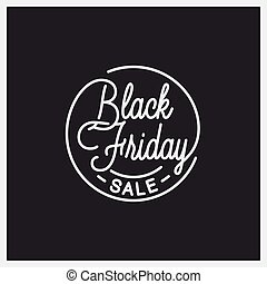 Black Friday logo. Round linear of friday sale