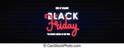 Black Friday long horizontal neon banner.
