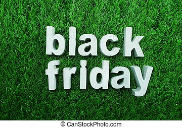 Black Friday made from concrete alphabet business concept