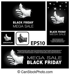 Black Friday mega sale banners set. Low poly thumb up icon on black background.