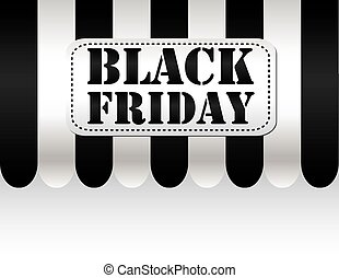 Black friday on black and white awning