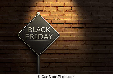 Black Friday on the black road sign