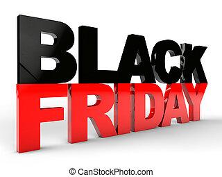 Black Friday over white background