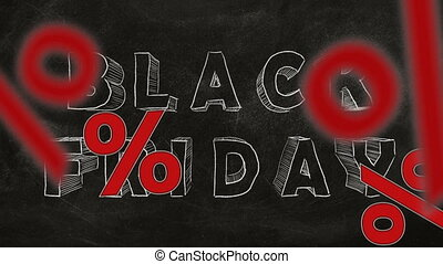 Black Friday - Percent sign falling down on backgrpund of...