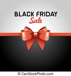Black Friday Poster Sale with Ribbon and Bow Knot. Vector