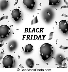 Black Friday Poster with Shiny Balloons and Confetti on White Background