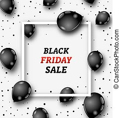 Black Friday Poster with Shiny Balloons on White Background