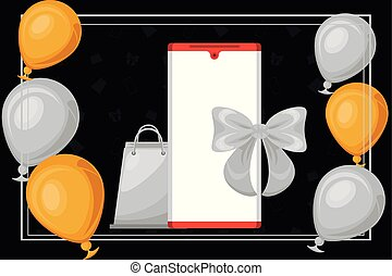 black friday poster with smartphone and balloons helium