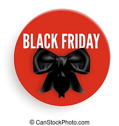 Black Friday promotional emblem with bow made of silk ribbon...