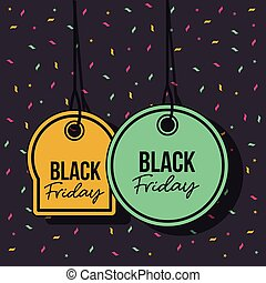 black friday promotional offer tags yellow and green pendant of threads in black background with confetti colorful