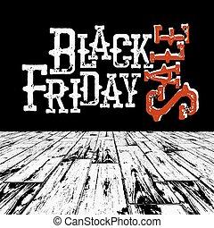 Black Friday Retro Typography. Logo in black room with wooden floor