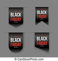 Black Friday ribbon tag vector set