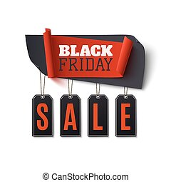 Black Friday Sale, abstract banner isolated on white background.