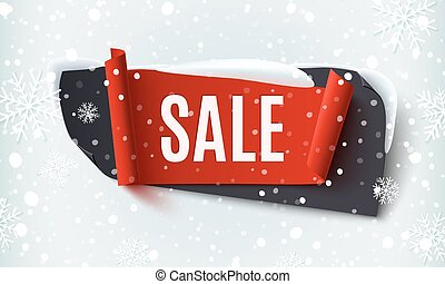 Black Friday Sale, abstract banner on winter background.