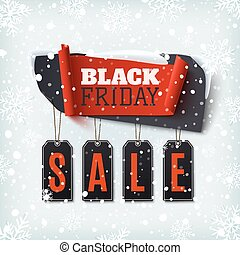 Black Friday Sale, abstract banner with price tags.