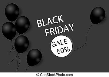 Black Friday sale background template. Dark background with black balloons for seasonal discount offer. Illustration.