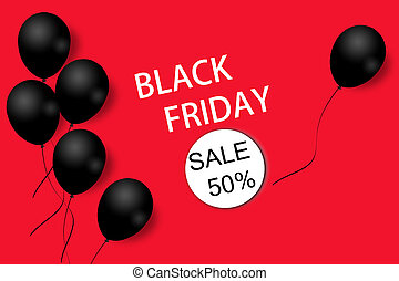 Black Friday sale background template. Red background with black balloons for seasonal discount offer. Illustration.
