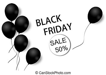 Black Friday sale background template. White background with black balloons for seasonal discount offer. Illustration.