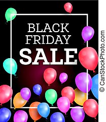 Black friday sale background with balloons and white frame.