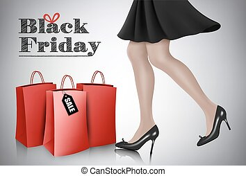 Black Friday sale background with elegant shopping woman and red bags. Vector