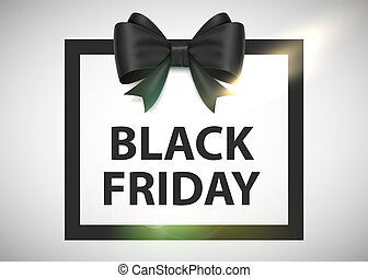 Black friday sale background with photorealistic bow and place for text.