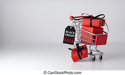Black friday sale background with shopping cart