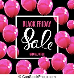 Black Friday Sale Balloon Concept of Discount. Special Offer Template .Vector Illustration