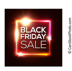 Black friday sale banner. Advertising Christmas red poster. Glowing neon background. Black friday design template. Electric led light rectangle frame. November discount. Laser logo vector illustration