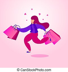 Black friday sale banner. Character woman with shopping bags runs from the store.