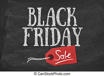 Black friday sale banner on blackboard