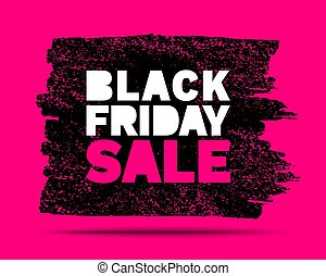Black Friday sale banner. Pink color background. Brush stroke blots frame for sales and discounts. Template design. Watercolor texture. Vector grunge illustration
