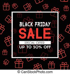 Black friday sale banner. Promotional template