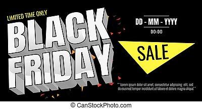 Black Friday sale banner. Vector illustration on white background