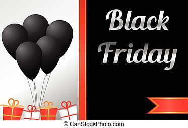 Black friday sale banner with balloons and gift boxes