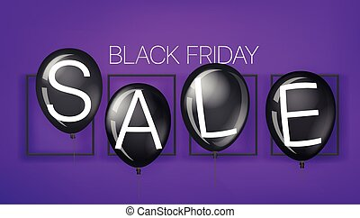 Black friday sale banner with black balloons. Vector illustration