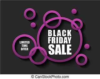 Black Friday sale banner with pink rings. Limited time offer on dark background. White text for advertising banner