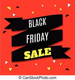Black Friday Sale Banner with Ribbon on Red Background. Vector Illustration