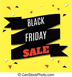 Black Friday Sale Banner with Ribbon on Yellow Background. Vector Illustration