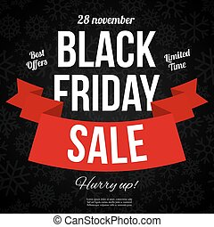 Black friday sale banner with Ribbon. Vector