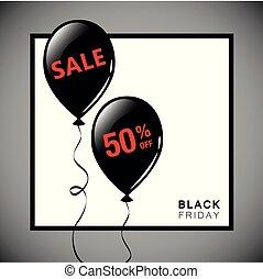 Black Friday sale black balloons advertising