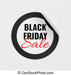 Black Friday sale black round sticker with curled corners on transparent background, vector illustration