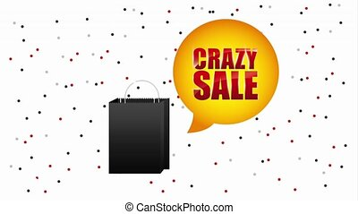 black friday sale - black shopping bag crazy sale bubble...