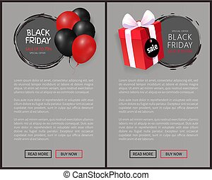 Black Friday Sale, Bunch of air Balloons, Gift Box