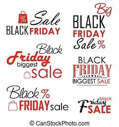 Black Friday Sale Calligraphic Designs set on white background